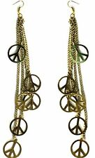 Peace Sign Drop Earrings, Chain & Peace Sign Long Statement Earrings, UK Seller