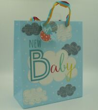 BABY BOY GIFT BAG - MEDIUM. GLITTER FINISH. BLUE WITH CLOUD GIFT TAG