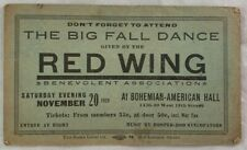 Original 1920 Chicago Ticket Bohemian American Hall Red Wing Big Fall Dance