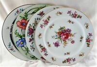 4 China Dinner Plates Vintage Mismatched Florals Cottage Country Gardens  222