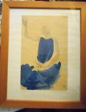 Augus Rodin Danseuse Cambodgienne Assise Blue Cambodian Dancer Art Print MR4428
