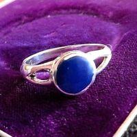 Schöner 925 Silber Ring Blau Email Hippi Boho Modern Indianer Ethno Navajo Luxus