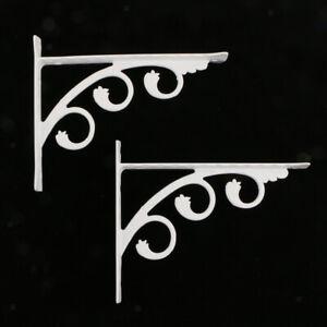 2Pcs Wall Mounted Metal L Shaped Shelf Bracket Support Holder White