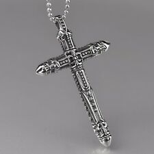 silver cross pendant stainless steel ball chain necklace solid large