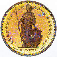 1995 SWITZERLAND HELVETIA 2 FRANCS GOLDEN BU GEM STRIKING COLOR UNC TONED (MR)