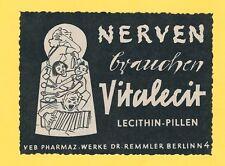 9/518 WERBUNG AUS EINER DDR ZEITSCHRIFT VITALECIT DR. REMMLER BERLIN VEB DDR