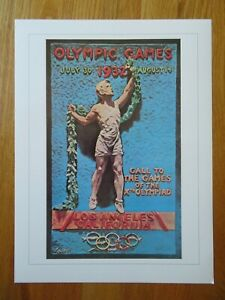 1896-1996 Olympiad SUMMER OLYMPIC GAMES 1932 LOS ANGELES CA Commemorative Poster
