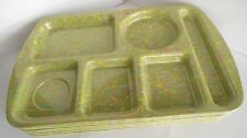6 Vintage Prolon School Lunch Tray Divided Compartment USA Confetti Green