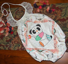Panda-licious size 0 embroidered patchwork romper- one of a kind