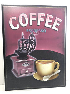 """Espresso Coffee Cafe 3D Wall Hanging Art Home Kitchen Decor-13.5""""x10."""" Wood."""
