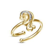 Toe Ring 14K Yellow Gold Over 0.07 Ct Diamond Zodiac Signs Virgo Adjustable