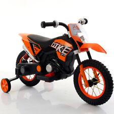 Moto Cross Motocicletta Elettrica Ruote Gonfiabili Arancione 6V Per Bambini