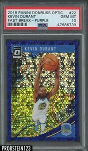 2018-19 Donruss Optic Purple Fast Break Prizm #22 Kevin Durant 42/95 PSA 10