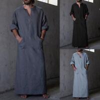 Herren Vintage T-Shirt Bluse V Neck Langarm Retro Hemd Pyjamas Robe Kaftan Kleid