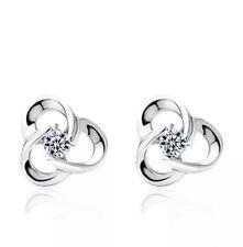 925 Sterling Silver Leaf Clover Swirl Stud Earrings Jewellery Womens UK