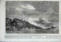 Old Antique Print 1860 Ship Wreck Stormy Sea Rocks Rescue Duncan Fine Art 19th