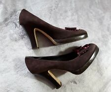 Anna Sui Womens Brown Sued High Heel Round Toes Platform Shoes Size 9 / 39.5
