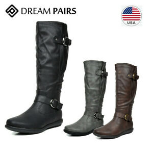 DREAM PAIRS Women's PU Knee High Flat Ladies Zip Winter Military Combat Boots US