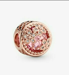 🌹 Rose Gold Pink Sparkling Pink Cz Daisy Charm Add On Pandora Bracelets