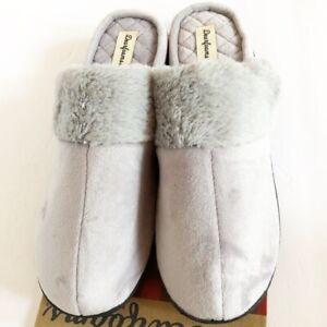 NEW Dearfoams Womens Memory Foam Hood Back Clog Microsuede Slippers XL 11-12