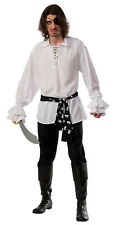 Men's White Pirate Shirt with Black Skull Waist Sash Adult Size Standard