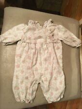 Janie and Jack Infant Girls One Piece Romper 0-3 months Floral Pink White Ruff