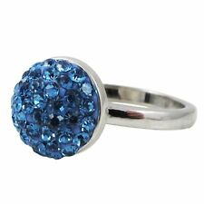 Blue Pave Crystals Shamballa Inspired Sterling Silver Ring (5)