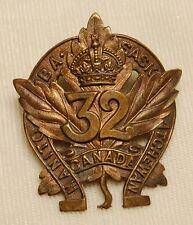 C.E.F. 32nd INFANTRY BATTALION (Manitoba & Saskatachewan Regt) cap badge