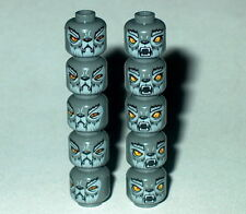 HEAD Lego Lot of 10 Chima Wolf Wakz Heads NEW Dark Bluish Grey