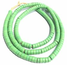 210 Czech Matched Green Strand Prosser Glass Disk- Spacers Trade Beads