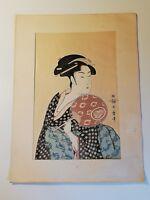 """Estampe japonaise """" Takashima Ohisa """" signée Utamaro Hitsu"""