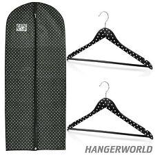 Lot Noir à Pois 2 Cintres Bois avec Barre & Housse Respirante Robes Hangerworld™
