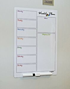 Magnetic Fridge Weekly Meal Planner Drywipe A4 White Notice Board + Pen