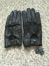 Women Driving Black Leather Gloves Large