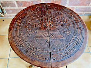 Vintage Peru South America Aztec Leather embossed  Folding Table