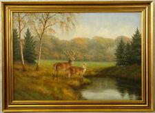 Wolmer ZIER (1910-1990) »Rotwild an der Tränke« 111x81 cm