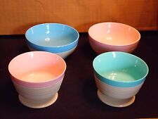 4 Retro 1950's  Raffiaware Thermo Temp 2 Footed Dessert Bowls 2  Snack Bowls