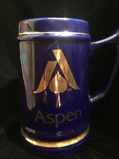 Vintage ASPEN Colorado SKI RESORT Town Gold Leaf LOGO Blue MUG Beer Coffee