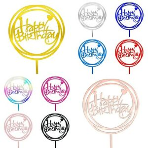 Reusable Happy Birthday Cake Toppers - Acrylic Calligraphy Decoration Heart Sign