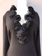 Elie Tahari Black V-Neck Dress Women's Size 2 Long Sleeved Cocktail Party Work