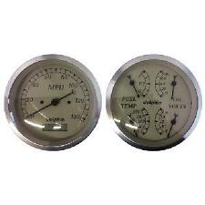 """DOLPHIN 3-3/8"""" ELECTRONIC TAN QUAD GAUGE SET HOTROD/FORD/CHEVY/PICKUP TRUCK"""