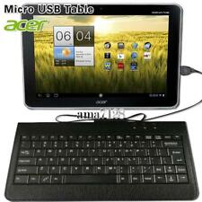 """Micro USB Leather Wired Keyboard Plug and play For 10.1"""" Acer Iconia Tablet"""