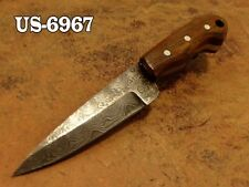 "4.3""CUSTOM  DAMASCUS STEEL MINI SKINNER NECK KNIFE,ROSE WOOD HANDLE US-6967"
