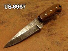 "4.3""CUSTOM  DAMASCUS STEEL MINI SKINNER NECK KNIFE,ROSE WOOD HANDLE US-6967"