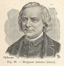 B1223 Antonio Stoppani - Stampa Antica del 1930 - Xilografia - Engraving