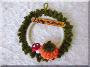 autumn small pumpkin wreath fall halloween thanksgiving handmade hanging decor