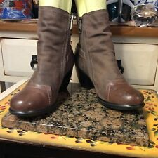 6f3228544d48 ANTELOPE Brown LEATHER DISTRESSED side zip ANKLE BOOTS WOMENS Sz 37-US-6