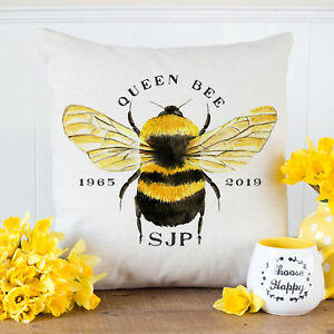 Personalised QUEEN BEE Cushion Cover Mothers Day Birthday Home Vintage Gift KC77
