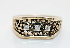 Vintage 10K Gold Nugget Style Mens .10 TCW Diamond Ring
