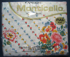 Full Flat Sheet - Sunshine Stripe by Cannon Monticello Multi Floral -Vintage New